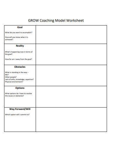 grow coaching model worksheet