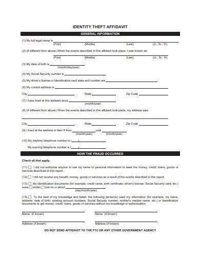 general affidavit of identity theft sample