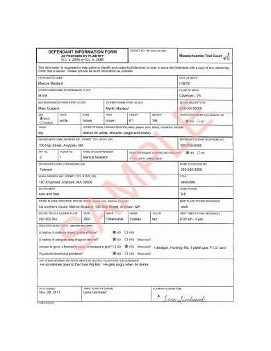 general defendant information form sample