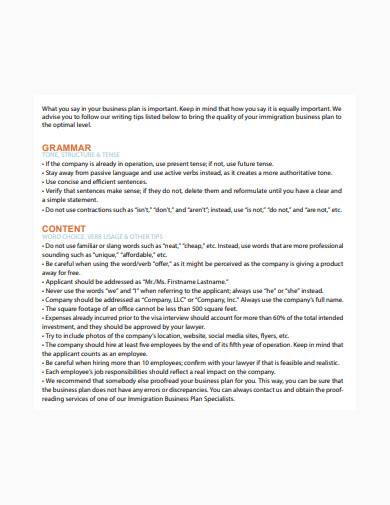 general immigration business plan