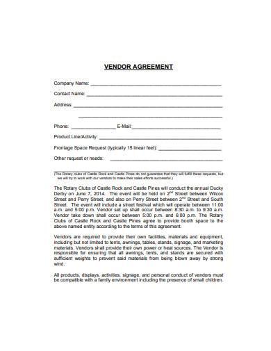 general retail vendor agreement template