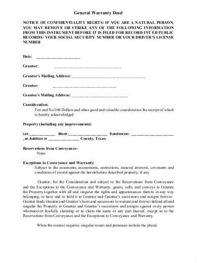 general warranty deed sample in pdf