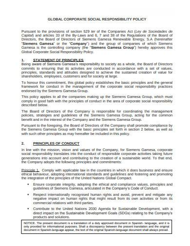 global corporate social responsibility policy template