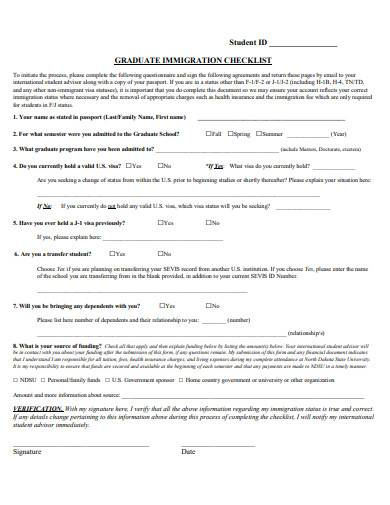 graduate immigration checklist