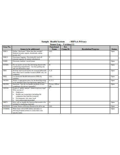 health system issues log sample