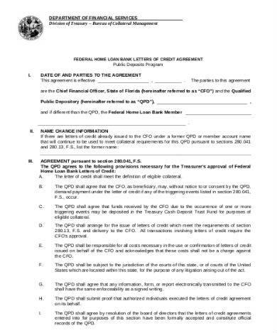 home loan of credit sample in pdf