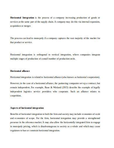 horizontal integration in doc