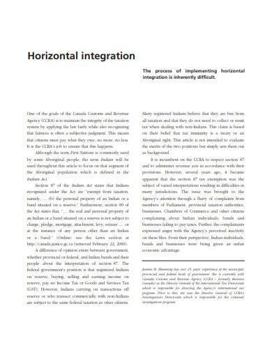 horizontal integration in pdf