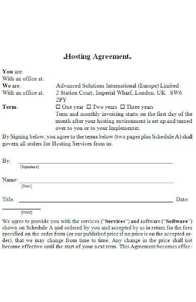 hosting agreement in ms word