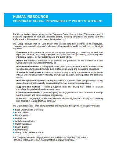 human resources corporate social responsibility policy statement
