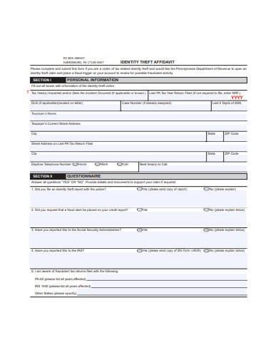 identity theft affidavit example