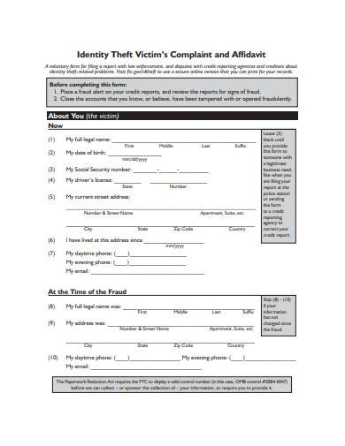 identity theft victim's complaint and affidavit template