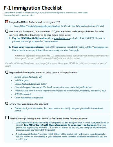 immigration checklist