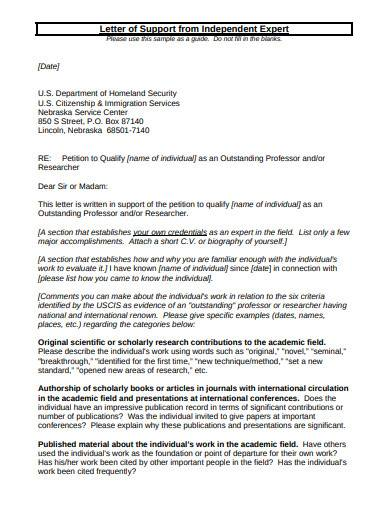 immigration support services letter