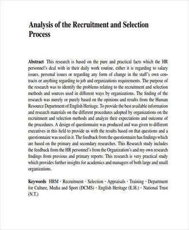 in depth recruitment and selection process analysis sample