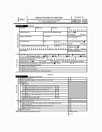 income tax return sample