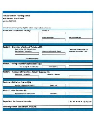 industrial settlement worksheet