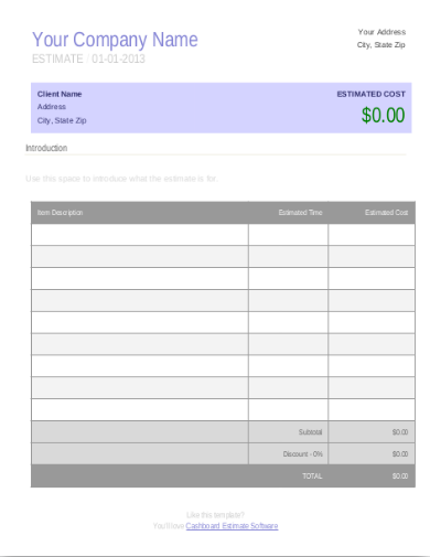 initial business estimate template