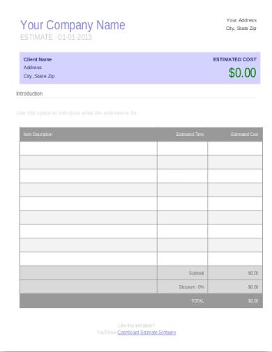 initial business estimate template