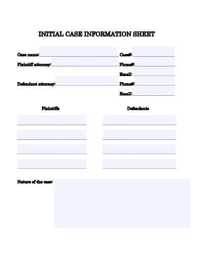 initial case information sheet