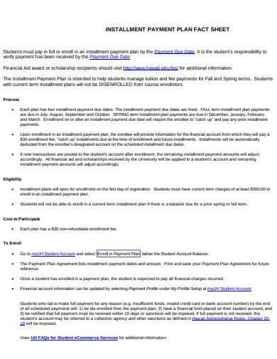 installment payment plan fact sheet