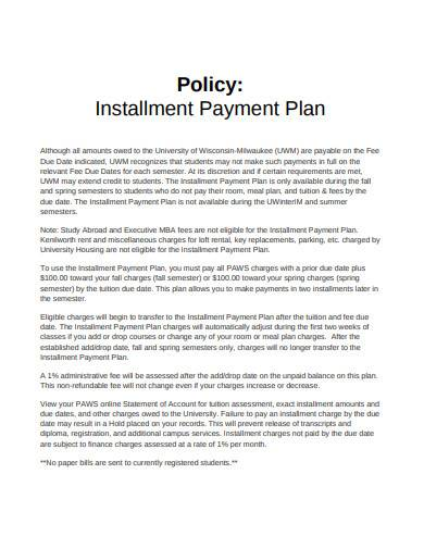 installment payment plan policy