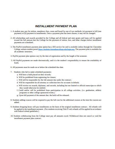installment payment plan in pdf