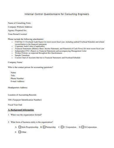 internal control questionnaire for consulting engineers