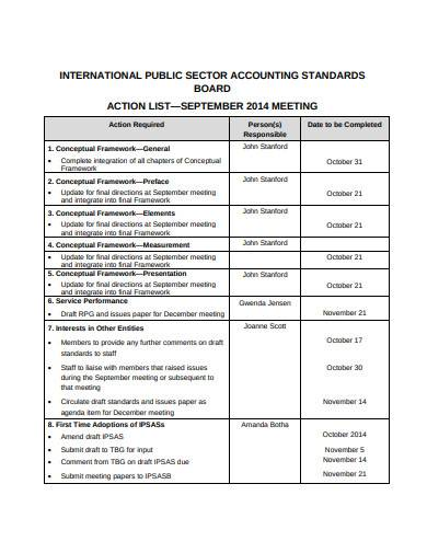 international public meeting action list sample
