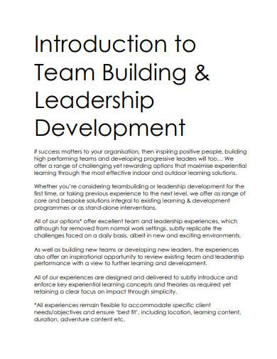 introduction to team building and leadership