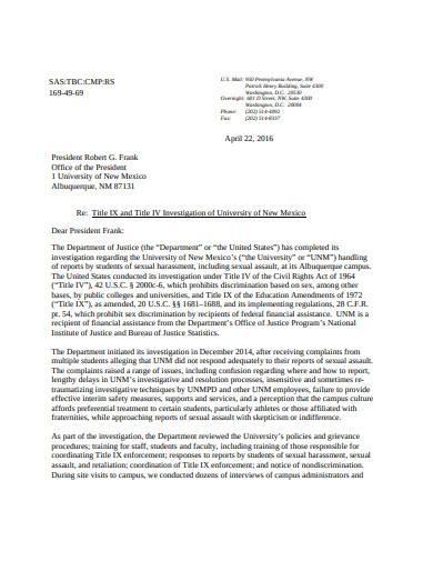 investigation outcome letter example