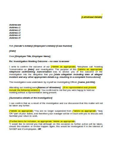 investigation outcome letter in doc