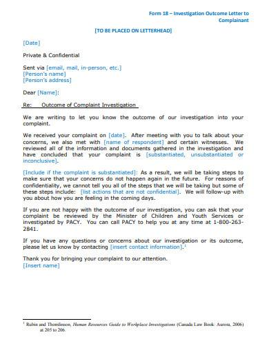 investigation outcome letter to complainant