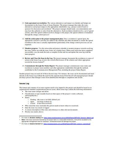 issues log management sample