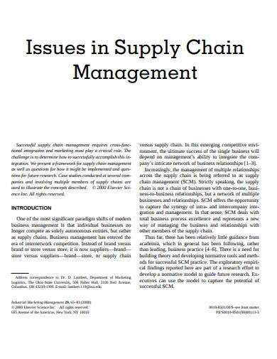 issues in supply chain management