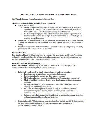 job description for behavioural health consultant
