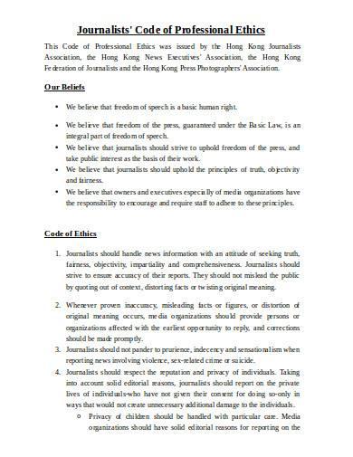 journalists code of professional ethics