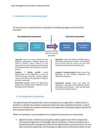 junior management consultant assessment plan