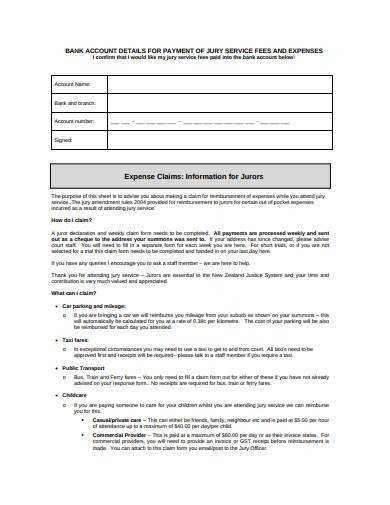juror reimbursement claim form