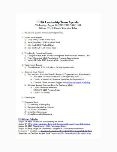 leadership team agenda template