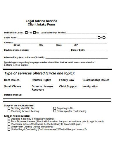 legal advice service client intake form