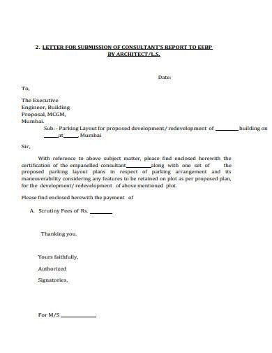 letter for submission of consultants report