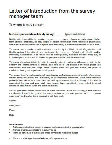 letter of introduction from the survey manager team