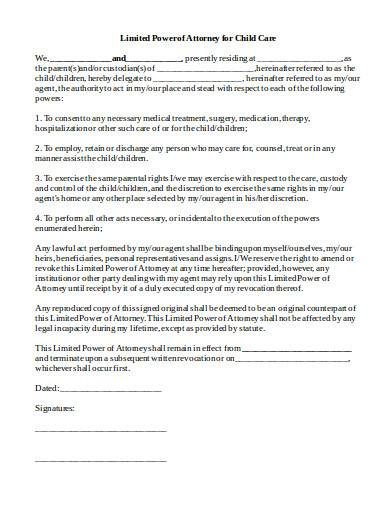 limited power of attorney for child care form