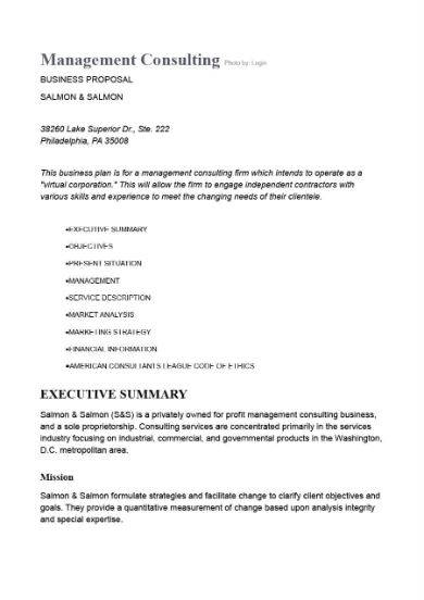 management consulting proposal sample in doc