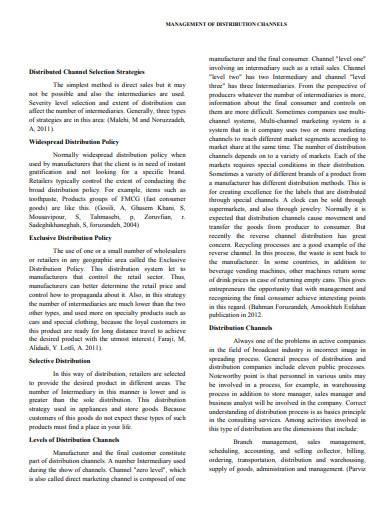 management of distribution channels