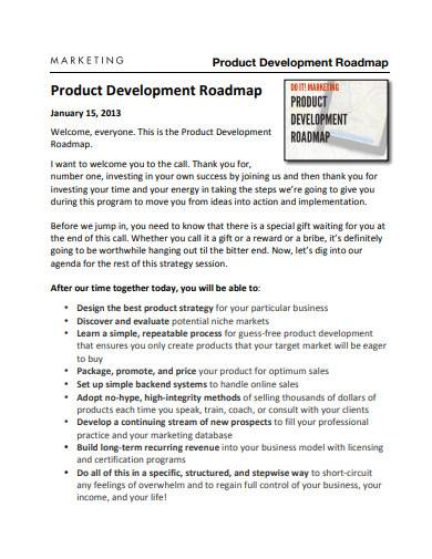 marketing product development roadmap sample