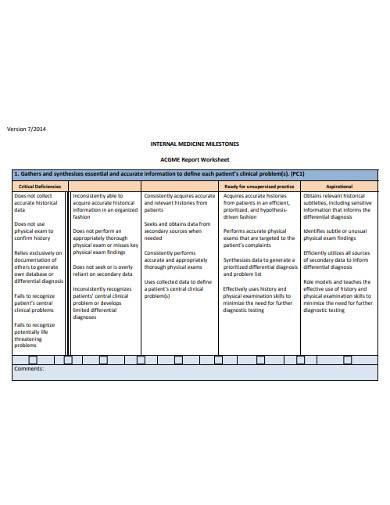 medical milestone report worksheet