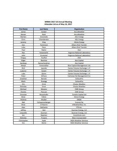 meeting attendee list in pdf