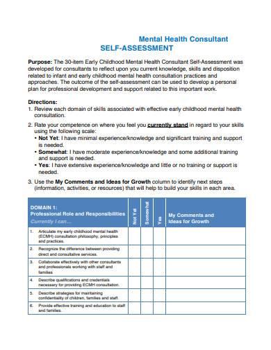 mental health consultant self assessment